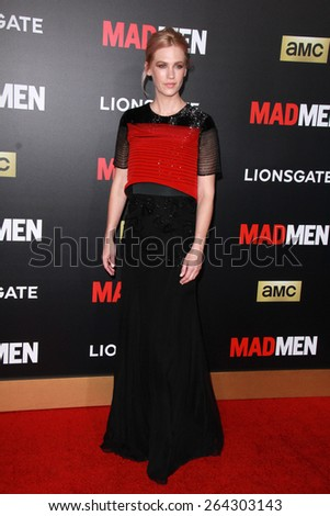 LOS ANGELES - MAR 25:  January Jones at the Mad Men Black & Red Gala at the Dorthy Chandler Pavillion on March 25, 2015 in Los Angeles, CA - stock photo