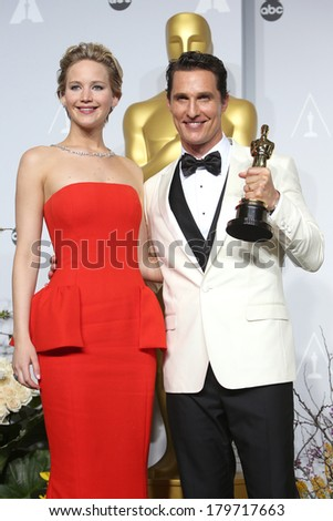 LOS ANGELES - MAR 2:  Jennifer Lawrence, Matthew McConaughey at the 86th Academy Awards at Dolby Theater, Hollywood & Highland on March 2, 2014 in Los Angeles, CA - stock photo