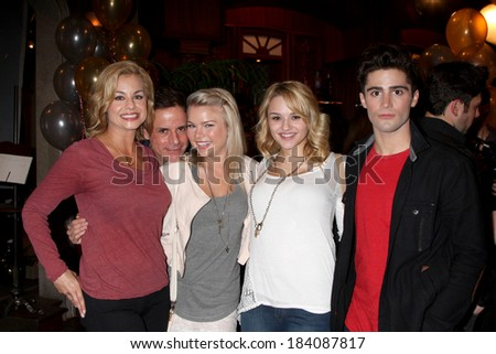 LOS ANGELES - MAR 25:  Jessica Collins, Christian LeBlanc, Kelli Goss, Hunter King, Max Erlich at the Y & R 41st Anniversary Cake at CBS Television City on March 25, 2014 in Los Angeles, CA - stock photo