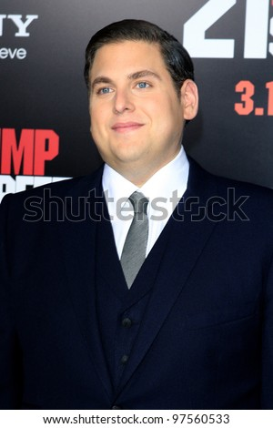 "LOS ANGELES - MAR 13:  Jonah Hill arrives at the ""21 Jump Street""  Premiere at the Graumans Chinese on March 13, 2012 in Los Angeles, CA - stock photo"