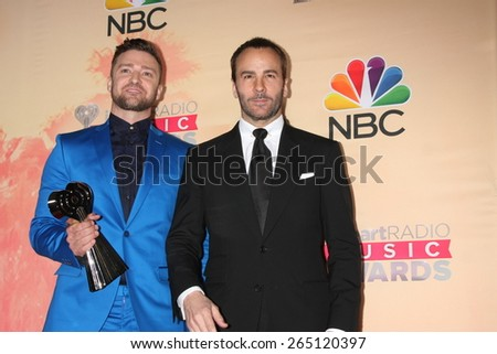 LOS ANGELES - MAR 29:  Justin Timberlake, Tom Ford at the 2015 iHeartRadio Music Awards Press Room at the Shrine Auditorium on March 29, 2015 in Los Angeles, CA - stock photo