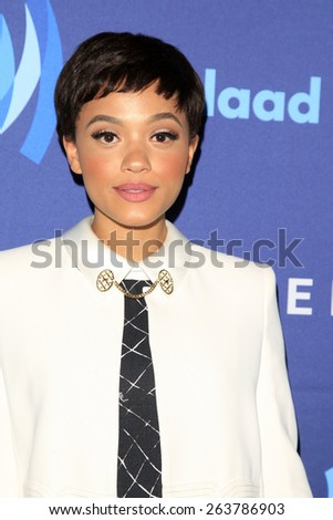 LOS ANGELES - MAR 21:  Kiersey Clemons at the 26th Annual GLAAD Media Awards at the Beverly Hilton Hotel on March 21, 2015 in Beverly Hills, CA - stock photo
