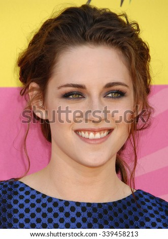 LOS ANGELES - MAR 23 - Kristen Stewart arrives at the Nickelodeons 2013 Kids Choice Awards on March 23,  2013 in Los Angeles, CA              - stock photo