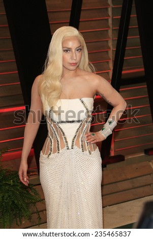 LOS ANGELES - MAR 2:  Lady Gaga at the 2014 Vanity Fair Oscar Party at the Sunset Boulevard on March 2, 2014 in West Hollywood, CA - stock photo