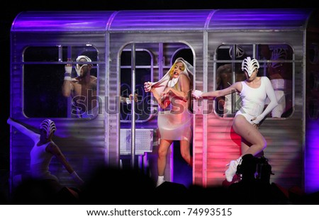 LOS ANGELES - MAR 28:  Lady Gaga Lady Gaga Performs at Staples Center  on March 28, 2011 in Hollywood, CA - stock photo