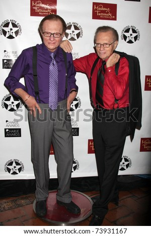 LOS ANGELES - MAR 25:  Larry King Wax figure (Purple shirt) with Larry King at the Charlie Awards at Hollywood Roosevelt Hotel on March 25, 2011 in Los Angeles, CA - stock photo