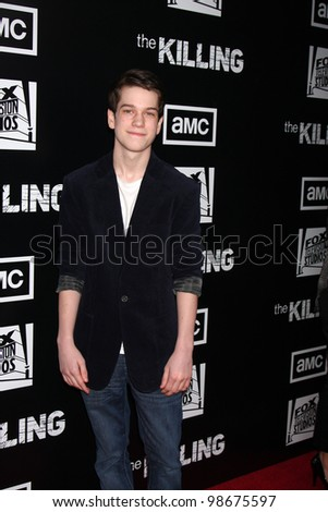 """LOS ANGELES - MAR 26:  Liam James arrives at  the AMC's """"The Killing"""" Season 2 Premiere at the ArcLight Theaters on March 26, 2012 in Los Angeles, CA - stock photo"""