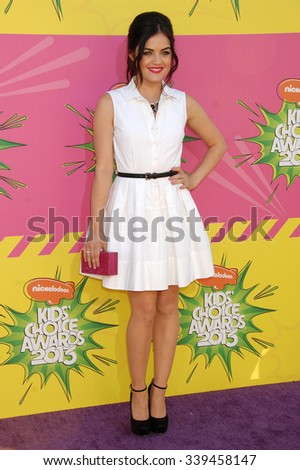 LOS ANGELES - MAR 23 - Lucy Hale arrives at the Nickelodeons 2013 Kids Choice Awards on March 23,  2013 in Los Angeles, CA              - stock photo