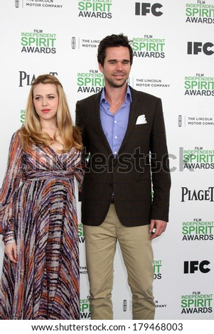 LOS ANGELES - MAR 1:  Majandra Delfino, David Walton at the Film Independent Spirit Awards at Tent on the Beach on March 1, 2014 in Santa Monica, CA - stock photo