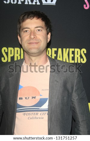 "LOS ANGELES - MAR 14:  Mark Duplass arrives at the 'Spring Breakers"" Premiere at the Arclight, Hollywood on March 14, 2013 in Los Angeles, CA - stock photo"