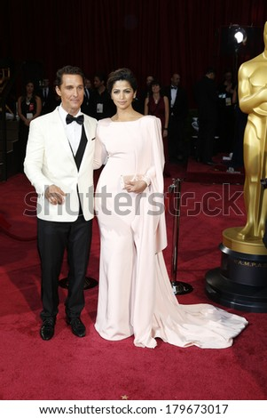LOS ANGELES - MAR 2:  Matthew McConaughey, Camila Alves McConaughey at the 86th Academy Awards at Dolby Theater, Hollywood & Highland on March 2, 2014 in Los Angeles, CA - stock photo