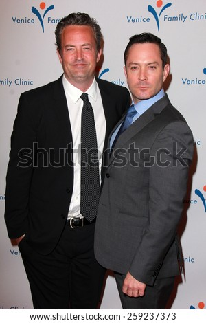LOS ANGELES - MAR 9:  Matthew Perry, Thomas Lennon at the 2015 Silver Circle Gala at the Beverly Wilshire Hotel on March 9, 2015 in Beverly Hills, CA - stock photo