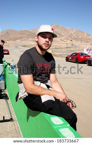 LOS ANGELES - MAR 15:  Max Thieriot at the Toyota Grand Prix of Long Beach Pro-Celebrity Race Training at Willow Springs International Speedway on March 15, 2014 in Rosamond, CA - stock photo