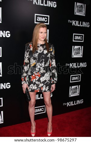 """LOS ANGELES - MAR 26:  Mireille Enos arrives at  the AMC's """"The Killing"""" Season 2 Premiere at the ArcLight Theaters on March 26, 2012 in Los Angeles, CA - stock photo"""