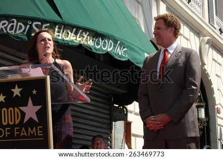 LOS ANGELES - MAR 24:  Molly Shannon, Will Ferrell at the Will Farrell Hollywood Walk of Fame Star Ceremony at the Hollywood Boulevard on March 24, 2015 in Los Angeles, CA - stock photo