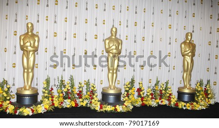 LOS ANGELES - MAR 7: Oscar statues in the press room at the Oscars held at the Kodak Theater in Los Angeles, California on March 7, 2010. - stock photo