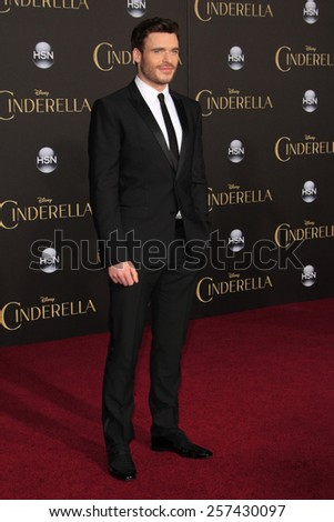 "LOS ANGELES - MAR 1:  Richard Madden at the ""Cinderella"" World Premiere at the El Capitan Theater on March 1, 2015 in Los Angeles, CA - stock photo"