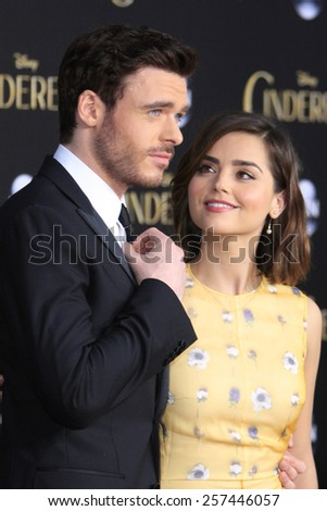 """LOS ANGELES - MAR 1:  Richard Madden, Jenna Coleman at the """"Cinderella"""" World Premiere at the El Capitan Theater on March 1, 2015 in Los Angeles, CA - stock photo"""