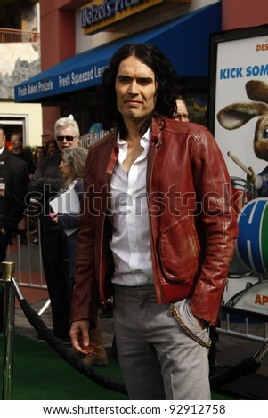LOS ANGELES - MAR 27:  Russell Brand arriving at the World Premiere of 'HOP' held at Universal Studios Hollywood in Los Angeles, California on March 27, 2011. - stock photo