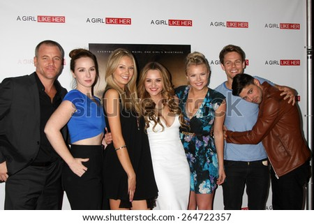 """LOS ANGELES - MAR 27:  S Carrigan, Camryn Grimes, M Ordway, Hunter King, Kelli Goss, Lachlan Buchanan, R Adamson at the """"A Girl Like Her"""" Screening at the ArcLight on March 27, 2015 in Los Angeles, CA - stock photo"""
