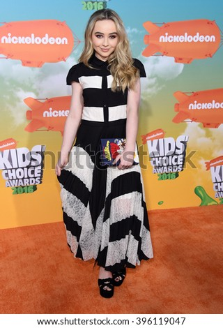 LOS ANGELES - MAR 12:  Sabrina Carpenter arrives to the Nickeloden's Kid's Choice Awards 2016  on March 12, 2016 in Hollywood, CA.                 - stock photo
