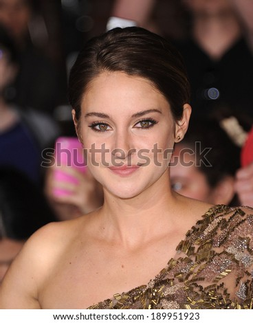 LOS ANGELES - MAR 18:  Shailene Woodley arrives to the 'Divergent' Los Angeles Premiere  on March 18, 2014 in Westwood, CA                 - stock photo