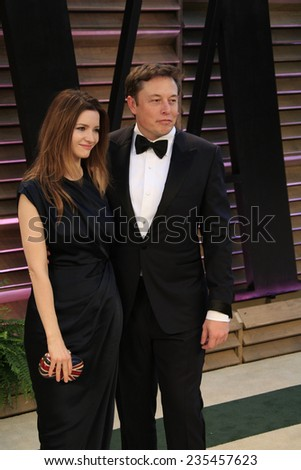 LOS ANGELES - MAR 2:  Talulah Riley, Elon Musk at the 2014 Vanity Fair Oscar Party at the Sunset Boulevard on March 2, 2014 in West Hollywood, CA - stock photo