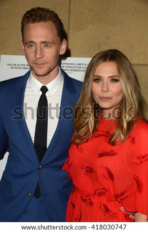 LOS ANGELES - MAR 22:  Tom Hiddleston, Elisabeth Olsen at the I Saw the Light LA Premiere at the Egyptian Theatre on March 22, 2016 in Los Angeles, CA - stock photo
