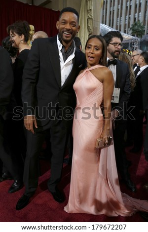 LOS ANGELES - MAR 2:  Will Smith, Jada Pinkett Smith at the 86th Academy Awards at Dolby Theater, Hollywood & Highland on March 2, 2014 in Los Angeles, CA - stock photo