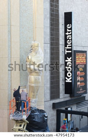 LOS ANGELES - MARCH 3:  An Oscar statue is setup at the Kodak Theater on March 3, 2010 in Los Angeles.  The 82nd annual Academy Awards will be held on March 7 - stock photo