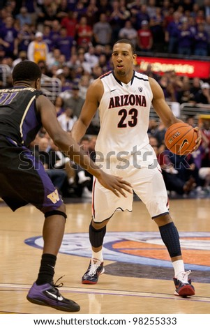 LOS ANGELES - MARCH 12: Arizona Wildcats F Derrick Williams #23 in action during the NCAA Pac-10 Tournament basketball championship game on March 12 2011 at Staples Center in Los Angeles, CA. - stock photo