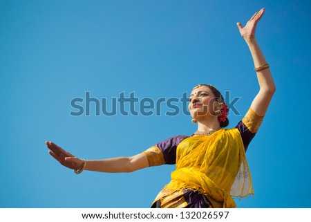 LOS ANGELES - MARCH 16 : Dancer performing on stage.  Holi Festival of Colors on March 16, 2013 in Los Angeles, CA - stock photo