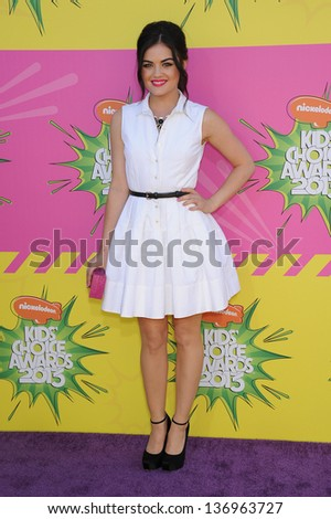 LOS ANGELES - MARCH 23:  Lucy Hale arrives to the Kid's Choice Awards 2013  on March 23, 2013 in Los Angeles, CA. - stock photo