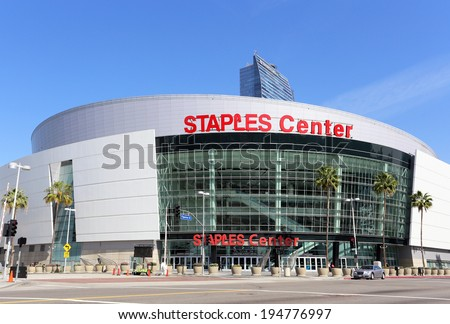 LOS ANGELES - MARCH 17: Staples Center located in Los Angeles, California on March 17, 2014. Staples Center is a multi-purpose arena in downtown Los Angeles and is home to multiple pro sports teams. - stock photo