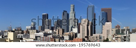 LOS ANGELES - MARCH 17: The skyline of downtown Los Angeles, California on March 17, 2014. Los Angeles is the most populous city in California and the second-most populous in the United States. - stock photo