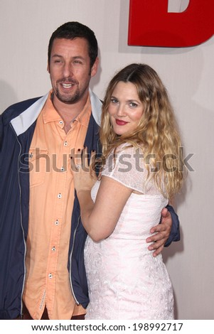 """LOS ANGELES - MAY 21:  Adam Sandler, Drew Barrymore at the """"Blended"""" Premiere at TCL Chinese Theater on May 21, 2014 in Los Angeles, CA - stock photo"""
