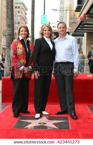 LOS ANGELES - MAY 19:  Andrea Hall Gengler, Deidre Hall, Bill Hall at the Deidre Hall Hollywood Walk of Fame Ceremony at Hollywood Blvd. on May 19, 2016 in Los Angeles, CA - stock photo