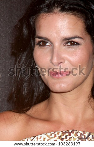 LOS ANGELES - MAY 22:  Angie Harmon arrives at the 37th Annual Gracie Awards Gala at Beverly Hilton Hotel on May 22, 2012 in Beverly Hllls, CA - stock photo