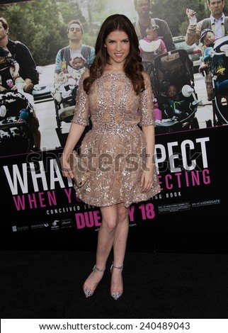 """LOS ANGELES - MAY 14:  ANNA KENDRICK arrives to the """"""""What To Expect When You're Expecting"""" Los Angeles Premiere  on May 14, 2012 in Hollywood, CA                 - stock photo"""