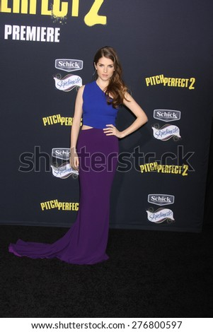 "LOS ANGELES - MAY 9:  Anna Kendrick at the ""Pitch Perfect 2"" World Premiere at the Nokia Theater on May 9, 2015 in Los Angeles, CA - stock photo"