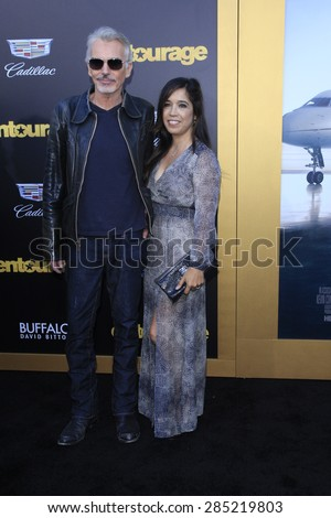 "LOS ANGELES - MAY 27:  Billy Bob Thornton, Connie Angland at the ""Entourage"" Movie Premiere at the Village Theater on May 27, 2015 in Westwood, CA - stock photo"