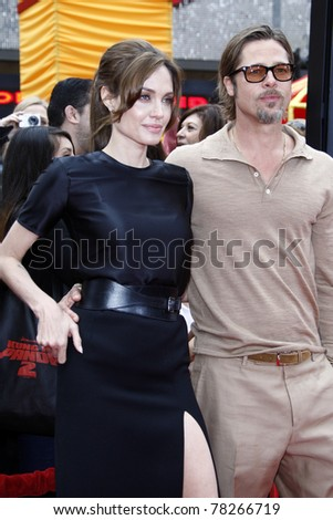 "LOS ANGELES - MAY 22:  Brad Pitt, Angelina Jolie arriving at the ""Kung Fu Panda 2"" Los Angeles Premiere at Grauman's Chinese Theatre on May 22, 2011 in Los Angeles, CA - stock photo"