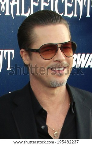 """LOS ANGELES - MAY 28:  Brad Pitt at the """"Maleficent"""" World Premiere at El Capitan Theater on May 28, 2014 in Los Angeles, CA - stock photo"""