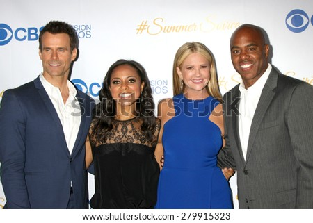 LOS ANGELES - MAY 18:  Cameron Mathison, Nischelle Turner, Nancy O'Dell, Kevin Frazier at the CBS Summer Soiree 2015 at the London Hotel on May 18, 2015 in West Hollywood, CA - stock photo