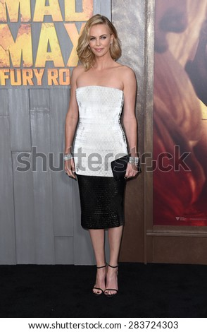 "LOS ANGELES - MAY 07:  Charlize Theron arrives to the ""Mad Max: Fury Road"" Los Angeles Premiere  on May 7, 2015 in Hollywood, CA                 - stock photo"