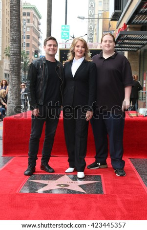 LOS ANGELES - MAY 19:  David Atticus Sohmer, Deidre Hall, Tully Chapin Sohmer at the Deidre Hall Hollywood Walk of Fame Ceremony at Hollywood Blvd. on May 19, 2016 in Los Angeles, CA - stock photo