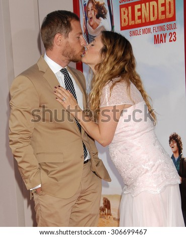 LOS ANGELES - MAY 21:  Drew Barrymore and husband Will Kopelman arrives at the Blended LOS ANGELES Premiere  on May 21, 2014 in Hollywood, CA                 - stock photo
