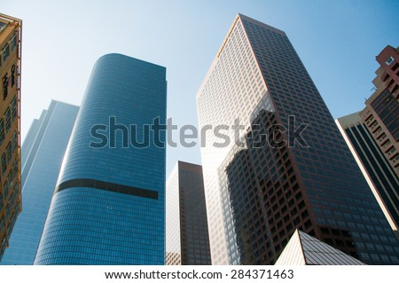 LOS ANGELES MAY 15: Financial district in downtown of Los Angeles on May 15, 2015 in Los Angeles ,CA - stock photo
