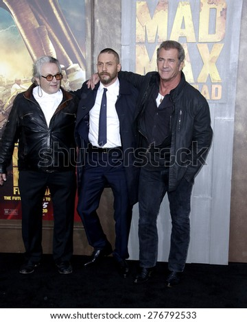 LOS ANGELES - MAY 7:  George Miller, Tom Hardy, Mel Gibson at the Mad Max: Fury Road Los Angeles Premiere at the TCL Chinese Theater IMAX on May 7, 2015 in Los Angeles, CA - stock photo