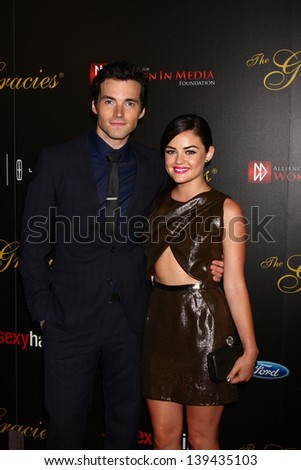 LOS ANGELES - MAY 21:  Ian Harding, Lucy Hale arrives at the 38th Annual Gracie Awards Gala at the Beverly Hilton Hotel on May 21, 2013 in Beverly Hills, CA - stock photo